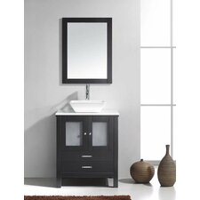 "Brentford 28"" Single Bathroom Vanity Set with White Stone Top and Mirror"