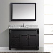 "Victoria 49"" Single Bathroom Vanity Set with Carrara White Stone Top and Mirror"