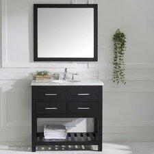 "Caroline Estate 36"" Single Bathroom Vanity Set with Carrara White Stone Top and Mirror"