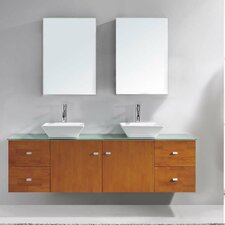 "Clarissa 72"" Double Bathroom Vanity Set with Tempered Glass Top and Mirror"