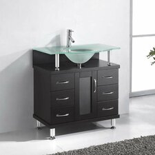 "Vincente 32"" Single Bathroom Vanity Set with Frosted Tempered Glass Top"