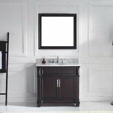 "Victoria 36"" Single Bathroom Vanity Set with Carrara White Stone Top and Mirror"