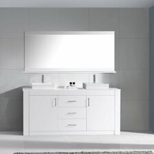 "Tavian 60"" Double Bathroom Vanity Cabinet Set with Mirror"