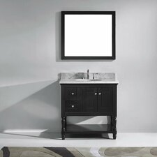 "Julianna 36"" Single Bathroom Vanity Set with Carrara White Stone Top and Mirror"