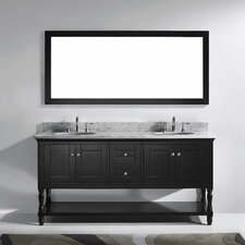 "Julianna 72"" Double Bathroom Vanity Set with Carrara White Stone Top and Mirror"