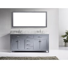 "Caroline 72"" Double Bathroom Vanity Set with Carrara White Stone Top and Mirror"