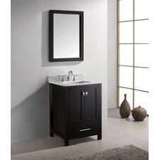 "Caroline Avenue 25"" Single Bathroom Vanity Set with Carrara White Stone Top and Mirror"