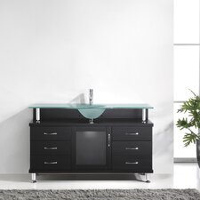 "Vincente 55"" Single Bathroom Vanity Set with Frosted Tempered Glass Top"
