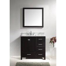 "Caroline Avenue 37"" Single Bathroom Vanity Set with Carrara White Stone Top and Mirror"