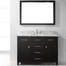 "Caroline 48"" Single Bathroom Vanity Set with Carrara White Stone Top and Mirror"