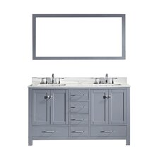 "Caroline Avenue 60"" Double Bathroom Vanity Set with Carrara White Stone Top and Mirror"