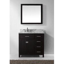 "Caroline Parkway 37"" Single Bathroom Vanity Set with Carrara White Stone Top and Mirror"