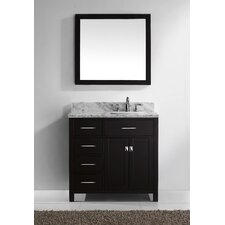"Caroline Parkway 35"" Single Bathroom Vanity Set with Carrara White Stone Top and Mirror"
