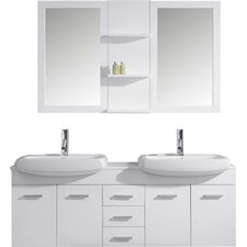 """Ophelia 60"""" Double Bathroom Vanity Set with Mirrors"""