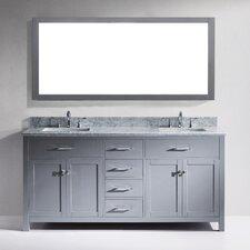 "Caroline 73"" Double Bathroom Vanity Set with Carrara White Stone Top and Mirror"