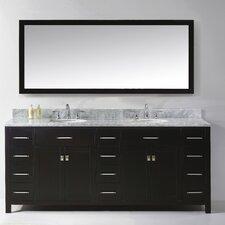 "Caroline Parkway 78"" Double Bathroom Vanity Set with Carrara White Stone Top and Mirror"