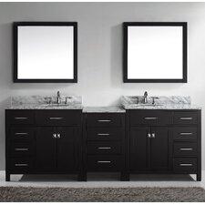 "Caroline Parkway 93"" Double Bathroom Vanity Set with Carrara White Stone Top and Mirror"