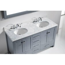 "Caroline Avenue 60"" Double Bathroom Vanity Set with Carrara White Stone Top and Mirror"