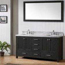 "Caroline Avenue 60"" Single Bathroom Vanity Set with White marble and Mirror"
