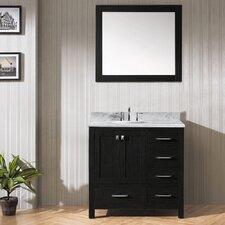 "Caroline Avenue 36"" Single Bathroom Vanity Set with White marble and Mirror"