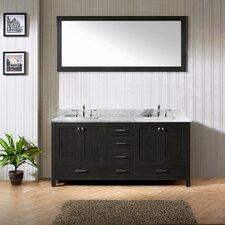 "Caroline Avenue 72"" Single Bathroom Vanity Set with White marble and Mirror"
