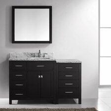 "Caroline Parkway 57"" Single Bathroom Vanity Set with Carrara White Stone Top and Mirror"