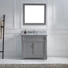 "Victoria 36"" Single Bathroom Vanity Set with Carrara White Stone Top"