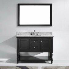 "Julianna 48"" Single Bathroom Vanity Set with Carrara White Stone Top and Mirror"