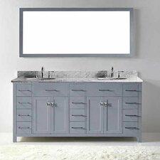 "Caroline Parkway 72"" Double Bathroom Vanity Set with Carrara White Stone Top and Mirror"