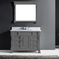 "Victoria 48"" Single Bathroom Vanity Set with Carrara White Stone Top and Mirror"