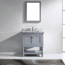 "Julianna 33"" Single Bathroom Vanity Set with Carrara White Stone Top and Mirror"
