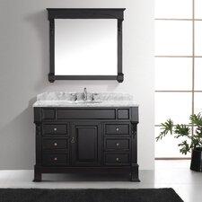 """Huntshire Manor 48"""" Single Bathroom Vanity Set with Carrara White Stone Top and Mirror"""