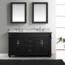 "Victoria 60"" Double Bathroom Vanity Set with Carrara White Stone Top and Mirror"