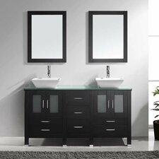 "Bradford 60"" Double Bathroom Vanity Set with Glass Top and Mirror"