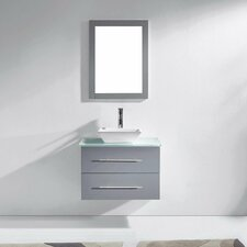 "Marsala 30"" Single Bathroom Vanity Set with Tempered Glass Top and Mirror"