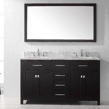 "Caroline 60"" Double Bathroom Vanity Set with Carrara White Stone Top and Mirror"