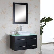 "Marsala 35"" Single Bathroom Vanity Set with Tempered Glass Top and Mirror"