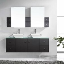 "Clarissa 61"" Double Bathroom Vanity Set with Tempered Glass Top and Mirror"
