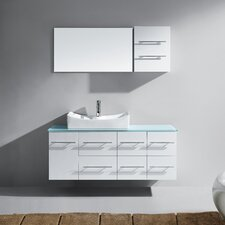 "Ceanna 53"" Single Bathroom Vanity Set with Tempered Glass Top and Mirror"