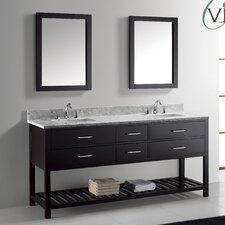 "Caroline Estate 72"" Double Bathroom Vanity Set with Carrara White Stone Top and Mirror"