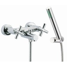 Maxima Wall Mount Thermostatic Bath Tub Faucet with Hand Shower