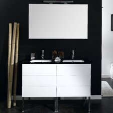 "Time 47"" Double Wall Mounted Bathroom Vanity Set with Mirror"