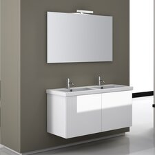 "Space 47"" Double Wall Mount Bathroom Vanity Set with Mirror"