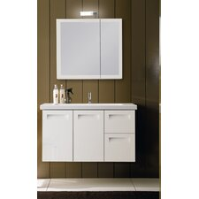 "Integral 39"" Single Wall Mounted Bathroom Vanity Set with Mirror"