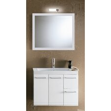 "Linear 30"" Single Wall Mounted Bathroom Vanity Set with Mirror"