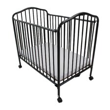 Compact Folding Metal Convertible Crib with Mattress