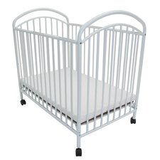 Classic Arched Compact Metal Convertible Crib with Mattress