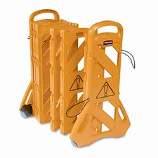 """Portable Mobile Safety Barrier, Plastic, 1"""" x 13 ft. x 40"""", Yellow"""