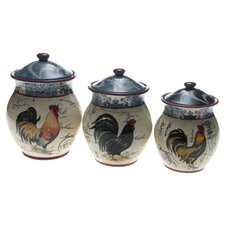 Lille Rooster by Geoffrey Allen 3 Piece Canister Set
