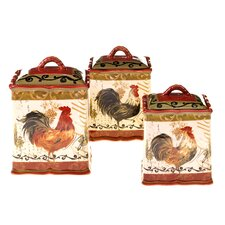 Tuscan Rooster 3 Piece Canister Set